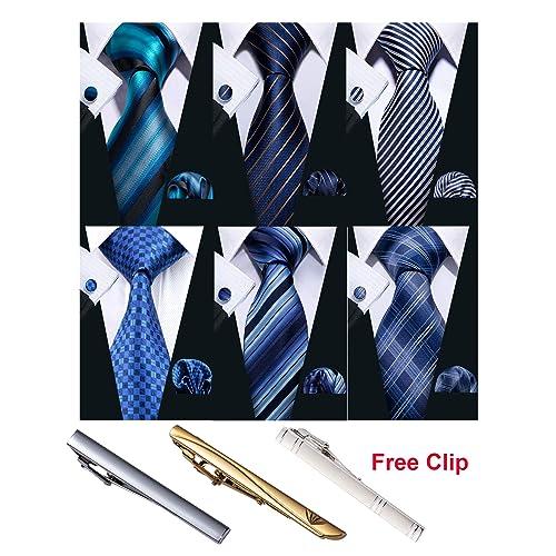 Barry.Wang Mens Plaid Check Silk Necktie Set Formal Dress Ties Pocket Square Cuf