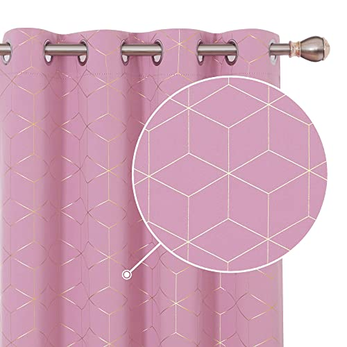 Deconovo Eyelet Blackout Curtains Foil Printed Diamond Thermal Insulated Curtains for Nursery with Two Matching Tie Backs W46 x L72 Inch Pink One Pair