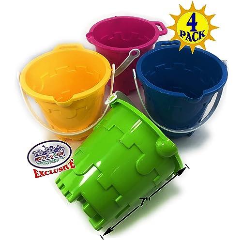 Mattys Toy Stop 9 Kids Short Handle Sand Scoop Plastic Shovels for Sand /& Beach 3 Pack Yellow, Blue /& Green Gift Set Bundle