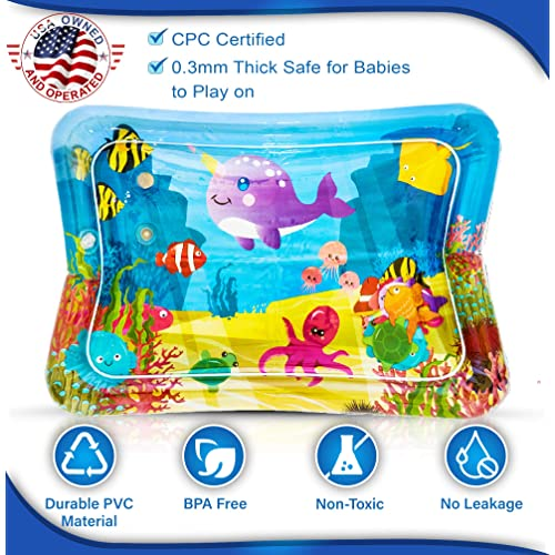 Sensory Toy for Babies Infants Toddlers Activity Center Play Gym for 3 months+ LUKAT Baby Water Play Mat Tummy Time Play Mat Inflatable summer toy