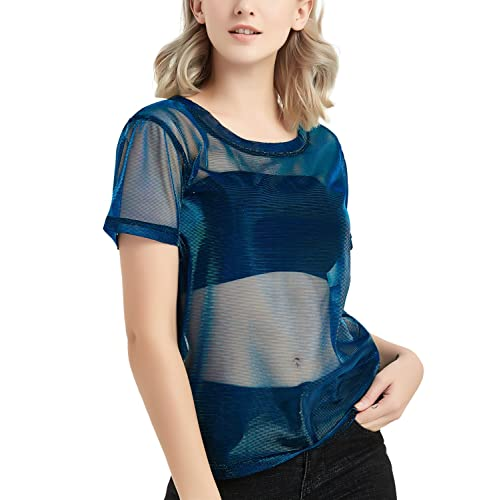 2572be80 Buy Holographic Mesh Shirt Metallic Shimmer See Through Shiny Top for Women  with Ubuy Kuwait. B07CWRXSPD