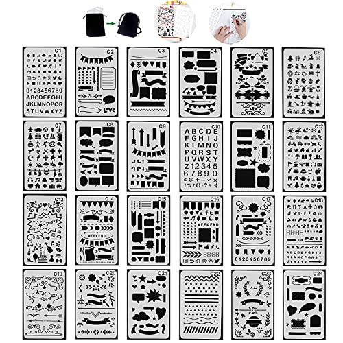 Diary Steel Ruler and 2 Pieces Metal Key Rings for Notebook 48 Pieces Journal Planner Stencils Plastic Bullet Stencil with A6 File Bag Total 52 Pieces Scrapbook and DIY Drawing Template
