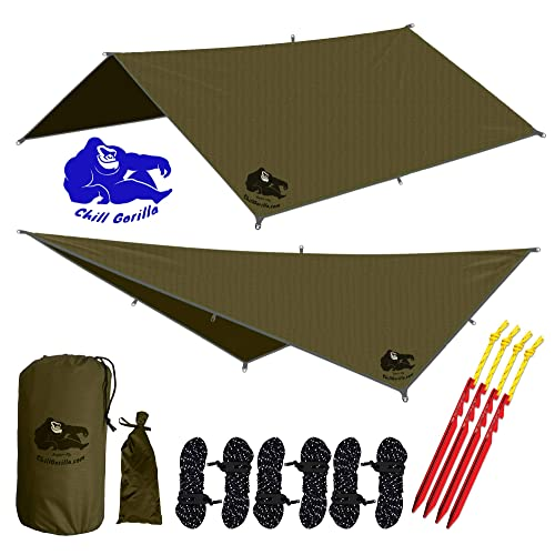 Chill Gorilla 12 Hammock Rain Fly Tent Tarp Waterproof Camping Shelter Essential Survival Gear Stakes Included Lightweight Easy To Setup Made From Diamond Ripstop Nylon Buy Products Online With Ubuy Kuwait