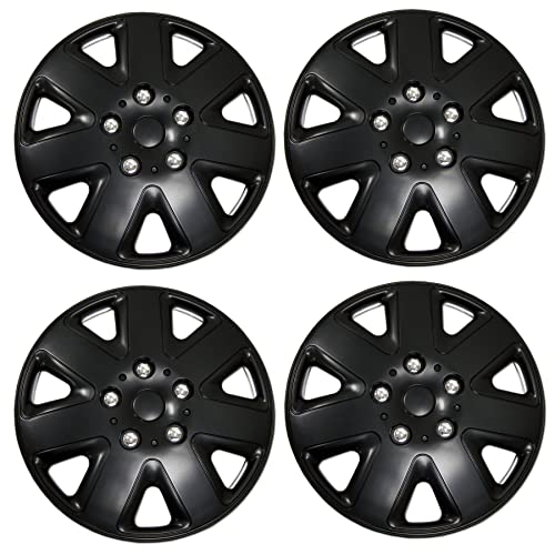 16-Inches Style Snap-On Type Matte Black Wheel Covers Hub-caps Pack of 4 Hubcaps Pop-On Tuningpros WC-16-720-B