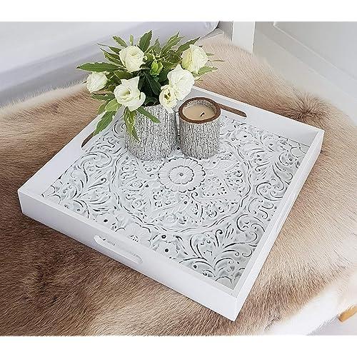 Table Decor Ottoman Tray Distressed Farmhouse Tray With Round