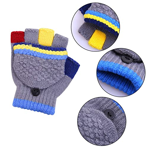 Cooraby 2 Pair Kids Convertible Flip Top Fingerless Gloves Warm Knitted Mittens for Boys and Girls