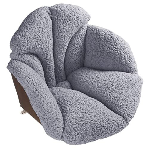 Winter Conjoined Plush Cushion Office Green Non-Slip Thickened Seat Cushion for Home Car Warm Sherpa Wool Seat Cushion Pad Semi-Enclosed One Seat Cushion Comfort Coccyx Cushion