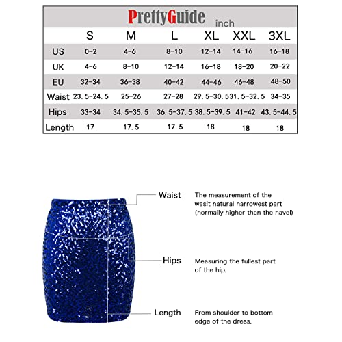 PrettyGuide Womens Sequin Skirt Stretchy Bodycon Sparkle Mini Skirt Night Out