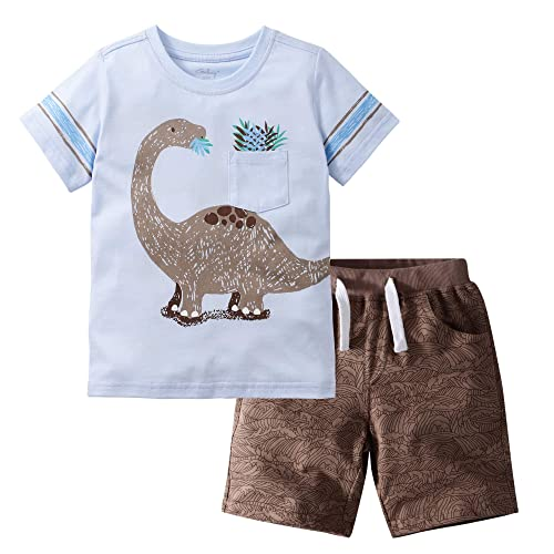 Boy's 6T Shirt// Shorts Set Little Bitty Blue// White Plaid Dinosaur Design