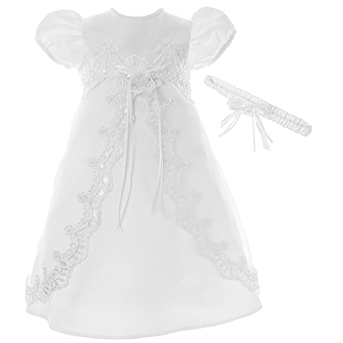 NIMBLE Baby Girls Baptism Delicate Embroideried Gown with Bonnet for 0-15 Months