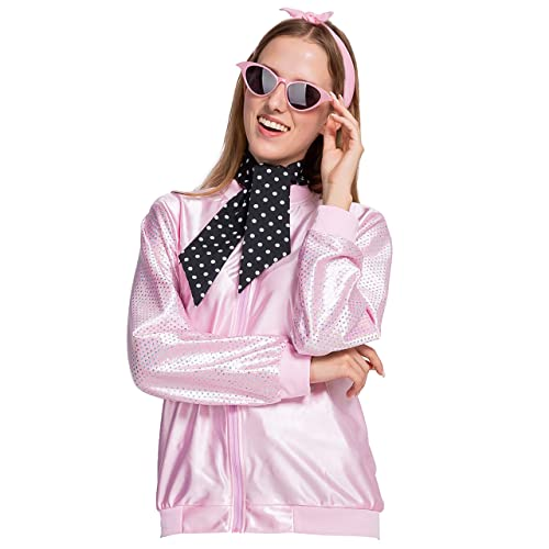 Women 50s Satin Jacket Polka Dot Scarf Halloween Costume Fancy Dress