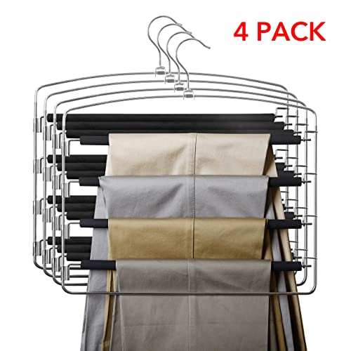 Space Saving Non-Slip Foam Padded Closet Storage Organizer for Pants Jeans Trousers Skirts Scarf Open Ended Easy Slide Trouser Organizer Bekith 6 Pack 2 Tier Slack Pant Hangers