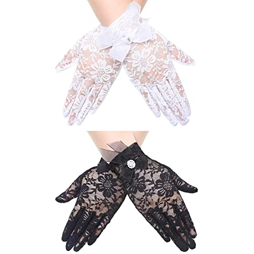 2 Pairs Short Lace Gloves Bridal Wedding Wrist Lace Gloves Vintage Sunscreen Floral Gloves for Women Girls