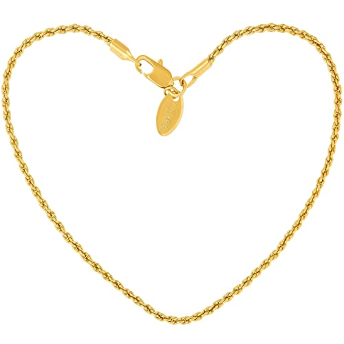 Lifetime Jewelry 2.5mm Diamond Cut Star Flat Link Chain Necklace 24k Gold Plated with Free Lifetime Replacement Guarantee