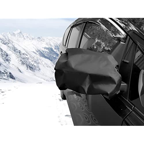 SAVITA 4 Pcs Side View Mirror Cover Snow Ice Frost Guard Mirror Cover Universal Size for Cars Auto Truck Side Mirror Protect Cover Black