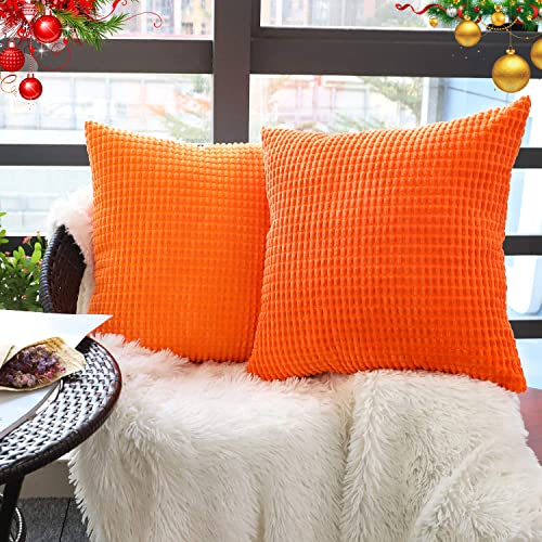Christmas Red Rythome Comfortable Throw Pillow Cover for Bedding Soft Solid Velvet with Zipper Hidden 22x22 Decorative Accent Cushion Sham Case for Couch Sofa