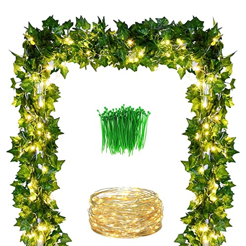 2 Pack Fake Ivy Leaf Plant Garland Wedding Backdrops Garland in Green for Tables Chairs Wedding Arches Spring Backyard XiaZ 5.9 Artificial Ivy Leaves Greenery Garlands