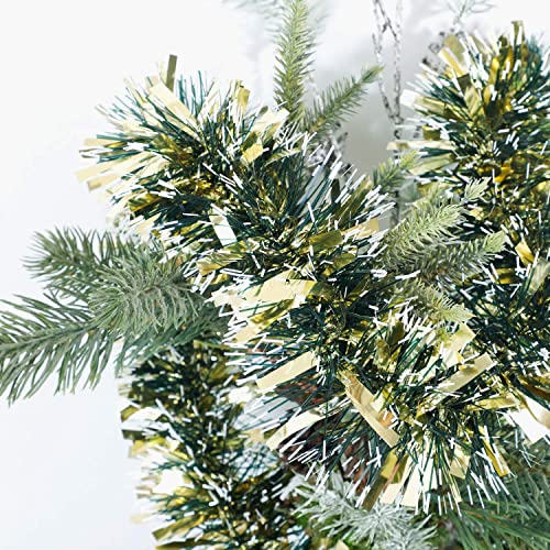 Alonsoo 3Pcs x 6.6ft Christmas Tinsel Garland Christmas Tree Ornaments Home Party Classic Shiny Sparkly Ceiling Hanging Decorations,3.6 inch Wide Filaments Gold.