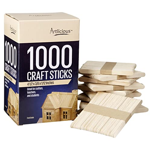 Natural Sturdy Wooden Popsicle Sticks Jumbo Ice Pop Treat Sticks Bulk for DIY Colored Crafts Projects Classrooms Home Creative Designs MotBach 800 Pcs Colored Wood Craft Sticks with 6 Bonus Stickers