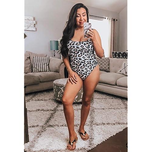 CinShein Womens Bikini High Cut Leopard Print One Piece Monokini Swimsuits Backless Thong Bathing Suits