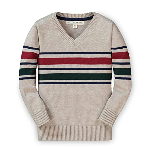 Hope /& Henry Boys Raglan Sweater with Crossed Collar