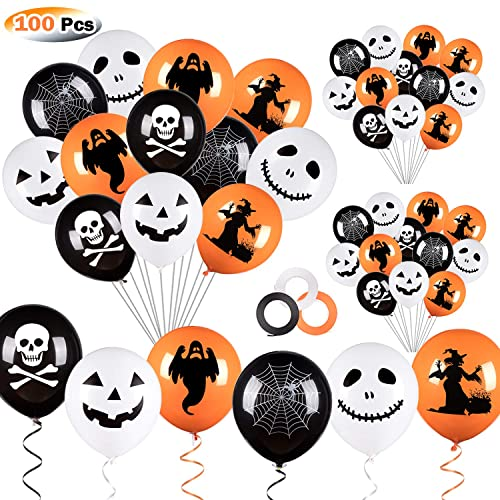 12Pcs Confetti Balloons for Birthday Flow.month 30pcs Party Balloons Halloween Balloons including 9Pcs Orange Latex Balloons,9Pcs Black Latex Balloons Party Decorations(random style) Weddings