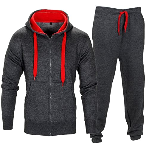 Nicelly Mens Oversize Pullover Drawstring Hood Jogger Tracksuit Set