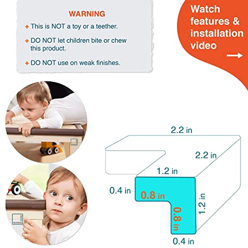 """Baby Proof Table Corner Protector Home Furniture Safety Bumper PRE-TAPED CORNERS; 8-Pack ONYX; Premium Childproofing Corner Guard; Child Safety Roving Cove/® 8-Piece /""""Safe Corner/® Cushion/"""""""