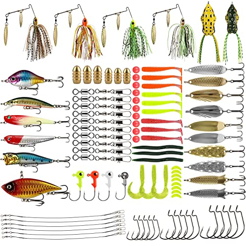 Vicloon 120 PCS Fishing Lures Mixed Including Spinners,VIB,Treble Hooks,Single