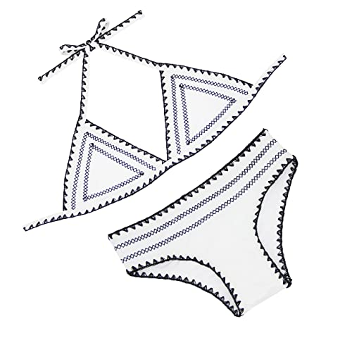 FLORAVOGUE Womens Halter Crochet Neoprene Bikini Set Triangle Two pieces Swimwear A32