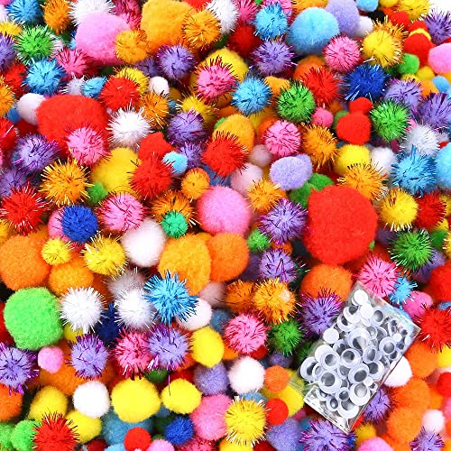 Caydo 1500 Pieces Fuzzy 5 Sizes Multicolor Assorted Pompoms Creative Crafts Decorations 3 Sizes Glitter Pompoms/and 4 Sizes Wiggle Eyes for DIY