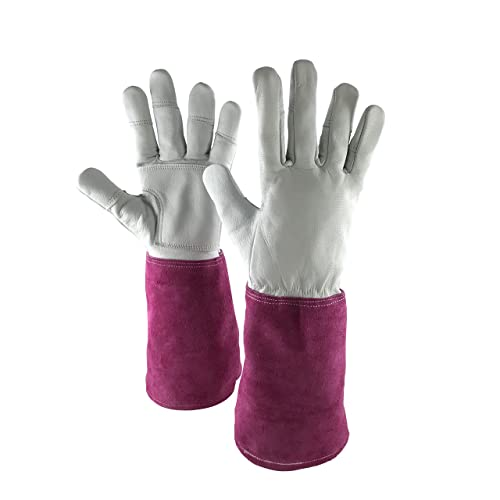 kuou Thorn Proof Leather Garden Gloves Long Arm Work Gloves for Women Floral Print Sleeves Garden Gauntlet