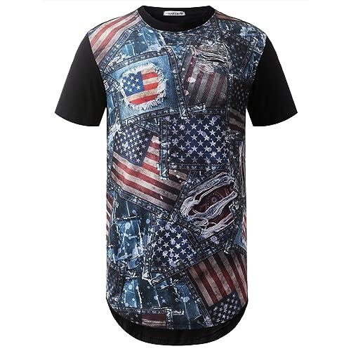 URBANCREWS Mens Hipster Hip Hop Camouflage Graphic Print Longline T-Shirt