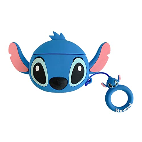Pink LitoDream Compatible with Airpods 1/&2 Case,Cute Cartoon Character Stitch Silicone Air pod Funny Cover Kawaii Fun Cool Keychain Design Skin Fashion Cases for Daughter Girls Kids Airpods