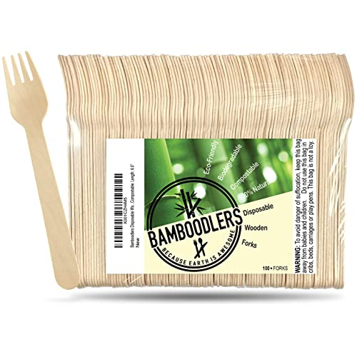 Beige Wooden Forks Pk 100 1 Pack drinkstuff YCX-001 Biodegradable Tableware