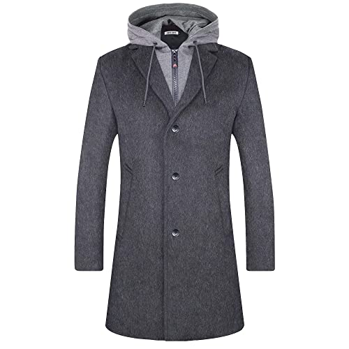 Men 100/% Cashmere Long Trench Coat Hooded Slim Formal Casual Winter Overcoat Hot