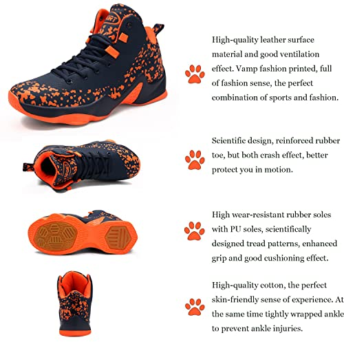 Mens Basketball Shoes Performance Shock Absorption Basketball Boots Trainer Sneakers 6 BlackRed 6 UK