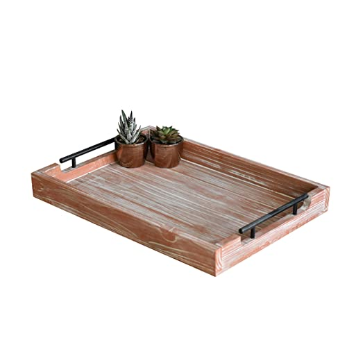 Buy Xv Home Coffee Table Tray With Handles Large Decorative Farmhouse Tray Wooden Ottoman Tray For Living Room And Kitchen Rustic Serving And Decor Trays Ottomans And Center