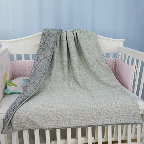 BlueSnail Super Soft Minky Dot Baby Throw Blanket with Double Plush Shepra Fleece Layer for Boys and Girls Pink+Dark Gray, 30W x 40L
