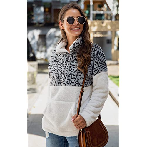 Angashion Womens Half Zip Warm Fuzzy Christmas Deer Print Patchwork Fleece Pullover Tops with Pocket for Winter