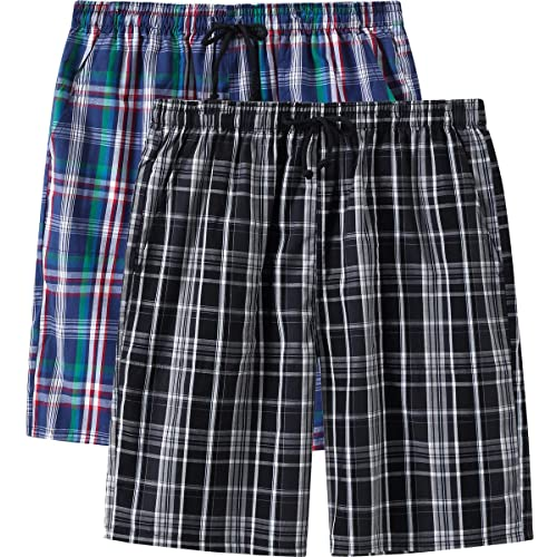 MoFiz Mens 2 Pack Pyjama Bottoms 100/% Cotton Checked Lounge Wear Shorts with Pockets