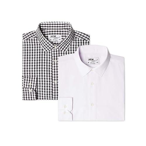 Hem /& Seam Mens Regular Fit Checked Formal Shirt Pack of 2