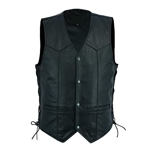 4Fit Genuine Leather Men/'s Braided Side Lace Motorcycle Biker Vest S-6XL Black
