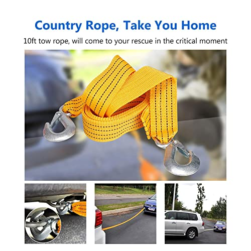 COOCHEER Car Emergency Kit Multifunctional Roadside Assistance 40-in-1 Auto Emergency Kit with Jumper Cables,Tow Rope,Triangle,Flashlight,Tire Pressure Gauges,Safety Hammer,etc