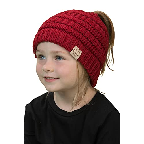 Funky Junque BeanieTail Children/'s Ponytail Messy Bun Beanie Solid Ribbed Hat