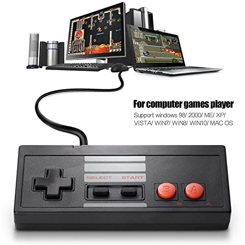 2 Pack Classic USB Controller for NES Gaming miadore PC USB Controller Retro Game Pad Joystick Raspberry Pi Controller for Windows PC Mac Linux RetroPie NES Emulators