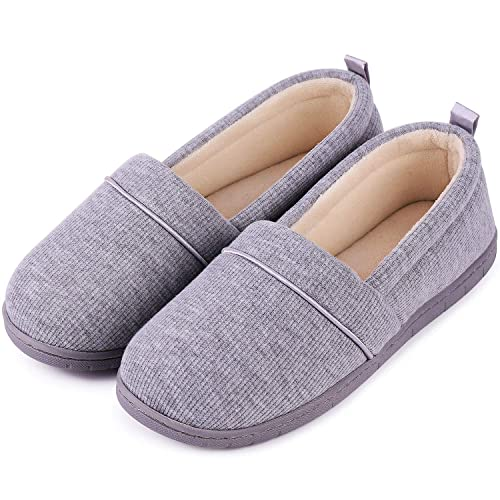 HomeTop Womens Cozy Corduroy Memory Foam Loafer Slippers with Coral Velvet Lining
