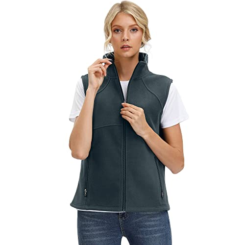 SeSe Code Womens Casual Zip Up Front Lightweight Fleece Vest with Pockets
