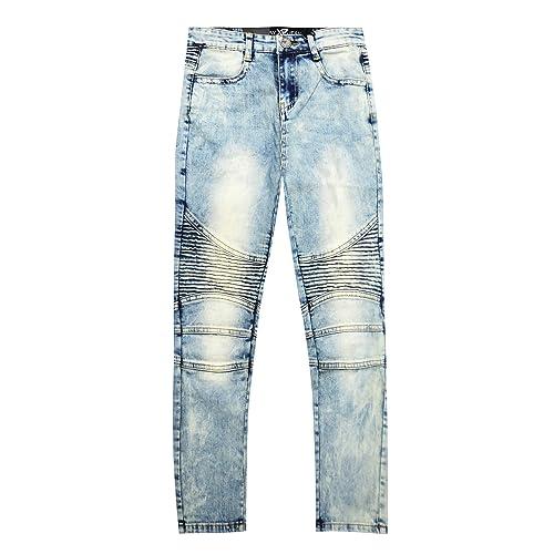 X RAY Boys Moto Biker Jeans Slim Fit Flex Stretch Washed Denim Distressed Kids Jean Pants