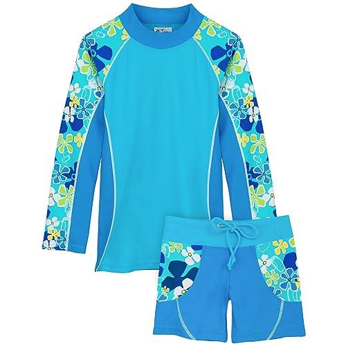 Tuga Boys Two-Piece Short Sleeve Swim Suit Set 2-14 Years Swimwear UPF 50